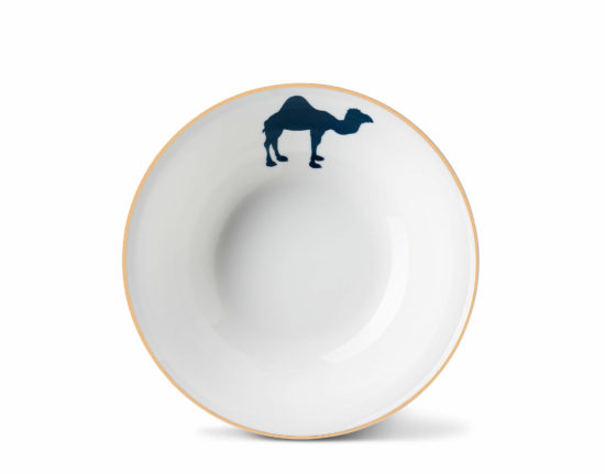 Camel Cereal Bowl with Gold Rim