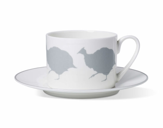 Guinea Fowl Coffee Cup and Saucer with Stone Grey Rim