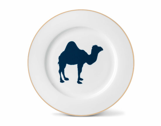 Camel Dinner Plate with Gold Rim