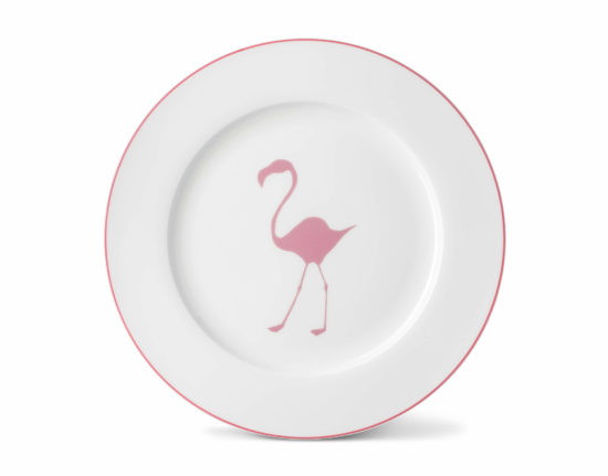 Flamingo Dinner Plate with Rose Pink Rim
