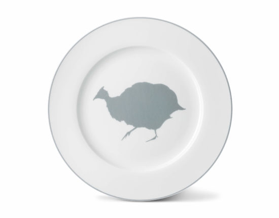 Guinea Fowl Dinner Plate with Stone Grey Rim