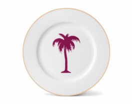 Palm Tree Dinner Plate with Gold Rim