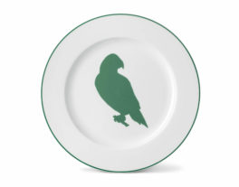 Parakeet Dinner Plate with Jungle Green Rim