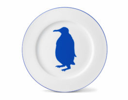 Penguin Dinner Plate with Lapis Lazuli Rim