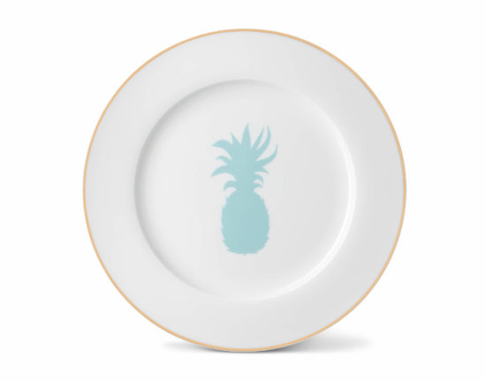 Pineapple Dinner Plate with Gold Rim