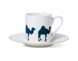 Camel Espresso Cup and Saucer with Gold Rim