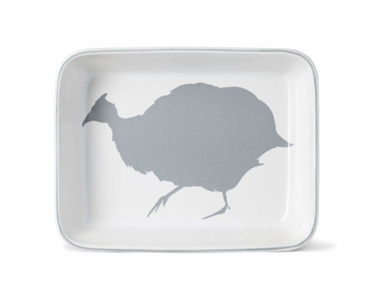 Medium Guinea Fowl Rectangular Ovenware Dish with Stone Grey Rim