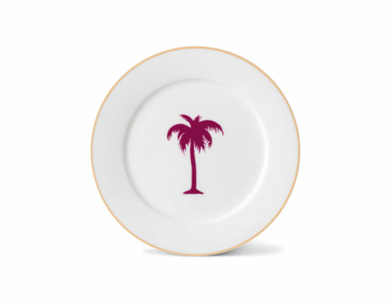 Palm Tree Side Plate with Gold Rim